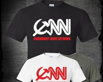 CNN Communist News Network T-shirt, Funny Political Satire Tabloid Fake News Corporate Media President Trump Breitbart Anti Establishment