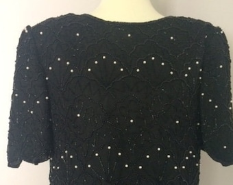 90's Sequin & Pearl Beaded Blouse