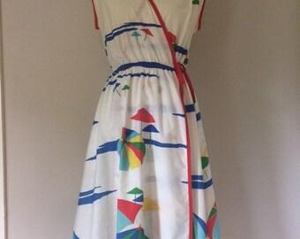 1980s Wrap Dress with Beach Umbrella Print