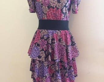 80s Ruffled Skirt Party Dress