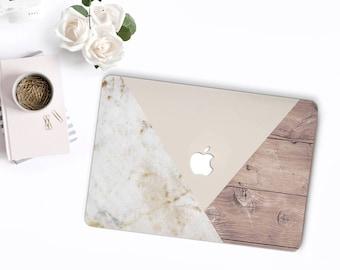 Marble & Wood Pink Tangram MacBook Snap Case, MacBook Protection, MacBook Pro 2016 Touch Bar Case, MacBook Pro Retina Hard Case
