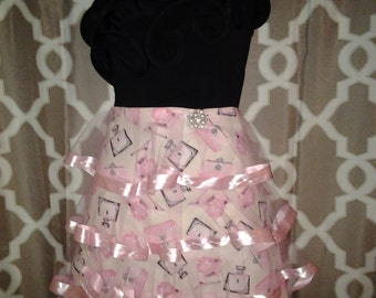 Couture Pink and Bling Waistline Apron