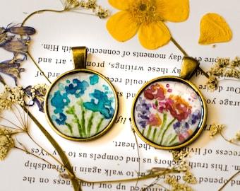 Les Fleurs | Handmade | Resin | Watercolor | Pendant
