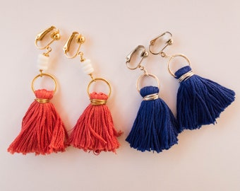 Pink and Royal | Handmade | Tassel Earrings | Clip Ons