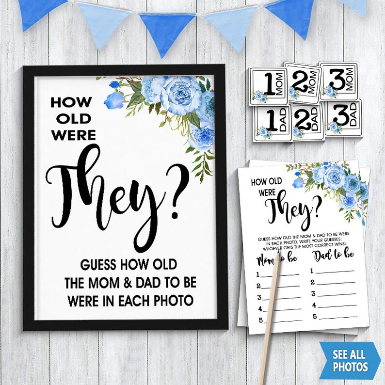 How old were Mom and Dad to be game Age guess Couples shower game blue boho  chic flowers boy shower Instant download printable game G130 04