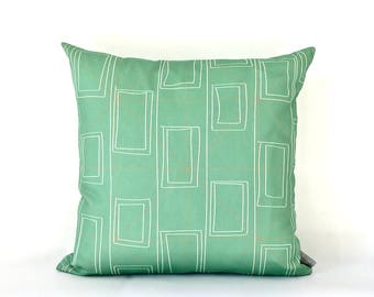 Modern Geometric Print Cushion Cover, Decorative Throw Pillow, Patterned Cushion, Green Scatter Cushion.