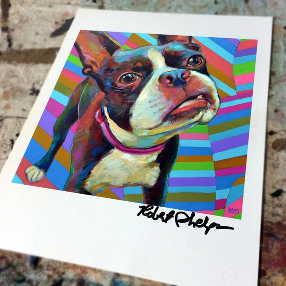 "Boston Terrier Brown Picture Personalized Art Home Decor Printed on 8.5/"" x 11/"""