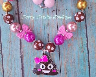 Poop necklace, Emoji Poop necklace, poop hair bow, Poop birthday, Poop bubblegum necklace, Bubblegum necklace, Chunky necklace, Poop Costume