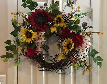 Red and yellow sunflower wreath