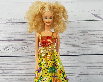 Vintage Really Curly Blond Haired Barbie / Malaysia 1966 Collectible Barbie Doll w/ Clothing / Wearing Colorful Summer Dress