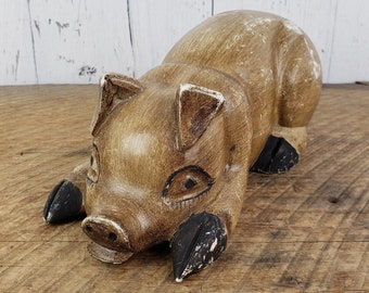 Mini pigs piggy figurine Art sculpture small vintage handcarved wood Lovely