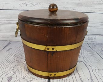 Vintage 70s Ice Bucket Barrel Insulated Wood CarrierCare of Woodenware Kennedy Bors., Vergennes, VT Barware Bar Cold Drink Bartender