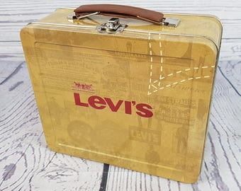 Vintage Levi's Metal Tin Box w/ Handle Lunchbox Lunch Collectible Storage Container Jeans Levis Levi Strauss