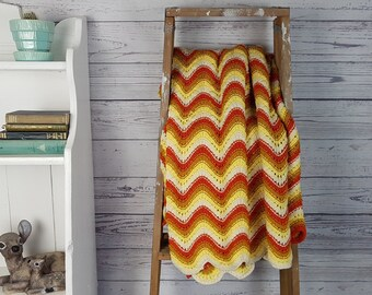 """Vintage Rustic Afghan Crochet Knit Throw Blanket / 60"""" x 34"""" / Couch Living Room Cabin Rustic / Bedding Bed Coverlet Yellow Orange Chevron"""