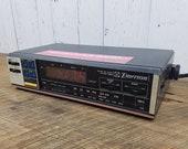 Vintage Emerson Clock Radio w Kitchen Timer 70s 80s Decor Wood Grain Panel Sides AM FM Electronic Radio Digital Display Modern Mid Century