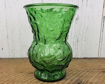 Vintage E.O Brody Emerald Green Crinkle Glass Vase boho decor