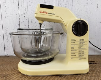 01e3385b384f Vintage Electric Stand Mixer w/ 2 Glass Bowls Sunbeam Mixmaster 12 Speeds  Brown & Almond Beaters Mid Century Kitchen Small Baking Appliance