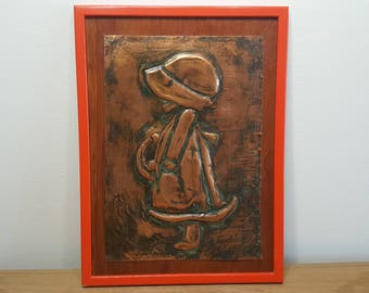 Vintage Girl with Big Hat Holly Hobbie Style Copper Wall Plaque Embossed Art Hanging Rustic 70s Bedroom Decor Country Chic Shabby Handmade