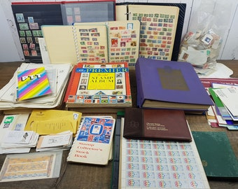 Vintage Very Large Stamp Collection Thousands With Albums Unsorted Various Countries Collectible Lot Many Unused Canadian Philatelist Gift