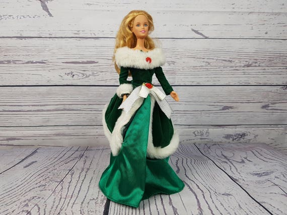 Vintage Barbie Doll With Christmas Dress Glamorous Evening Etsy