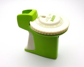 Vintage 70s Lime Green Avery Label Maker Loaded with Leftover Roll of Blue Label Tape