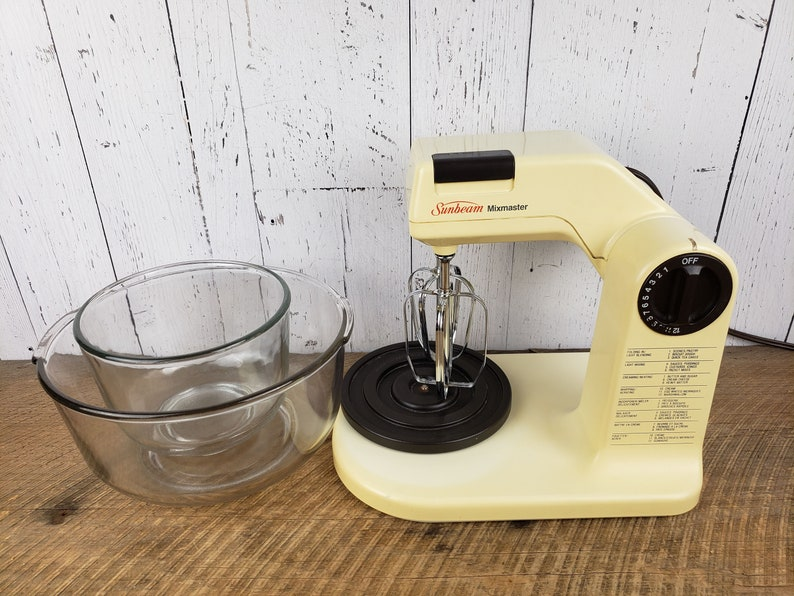 Vintage Electric Stand Mixer w 2 Glass Bowls Sunbeam Mixmaster 12 Speeds Brown /& Almond Beaters Mid Century Kitchen Small Baking Appliance