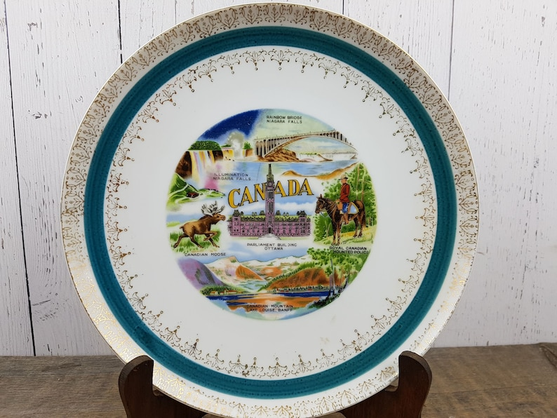 Vintage Canada Landmarks Decorative Plate Canadian Wall Hanging Art Souvenir Gift Tourism Travel Trip Vacation Holiday Tourist