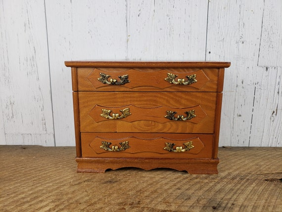 Vintage Wood Dresser Shaped Jewelry Box w/ Drawers