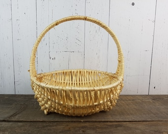 "Vintage Wicker Carrying Basket 12"" High x 12"" Wide Easter Basket Flower Girl Handle Basket Rustic Wedding Boho Chic Country Storage Decor"