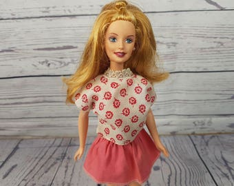 Vintage Barbie Doll w/ Clothing Fashionable Handmade Clothes from the 70s Skirt Shirt and Heels 1998 Body 1966 Preppy Barbie Nostalgia Gift
