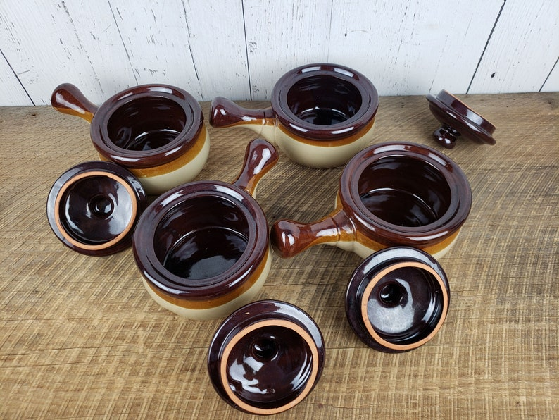 Vintage Set of 4 French Onion Soup Bowls w Lids Brown Stoneware Chef Mates Bohemian Ceramic Ovenproof Modern Mid Century Dishes Boho Chic