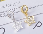 S925 Sterling Silver Star Charms,Pandora bracelet Charms,Tiny Charms,Bracelet Charm,Silver Star Charm Inlaid With Zircon