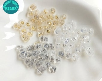 Brilliant Ideal 10 pcs 925 Sterling Silver Leaf Clover Silicone Earring Back Ear Nut
