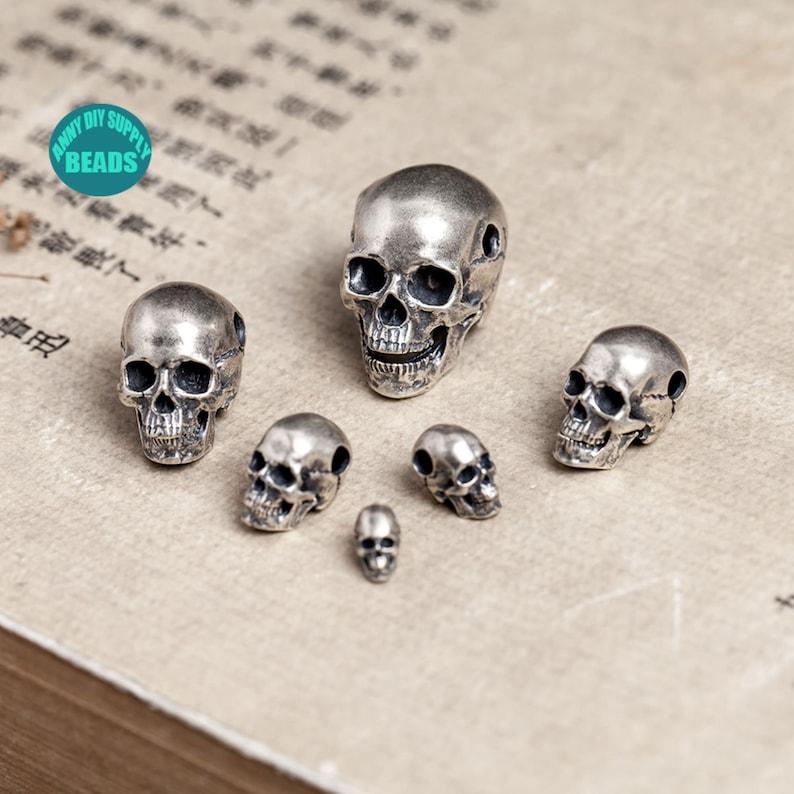 Skull Head Bead 1PCS S925 Sterling Silver Skull Pendant 3D Bead Skull Jewelry
