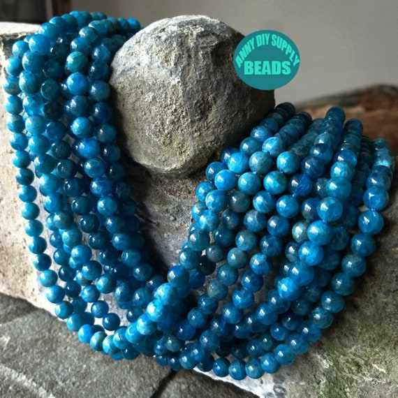 new 6//8//10//12//14mm blue ink Apatite Round Gemstones Loose Beads 15 inch AAA