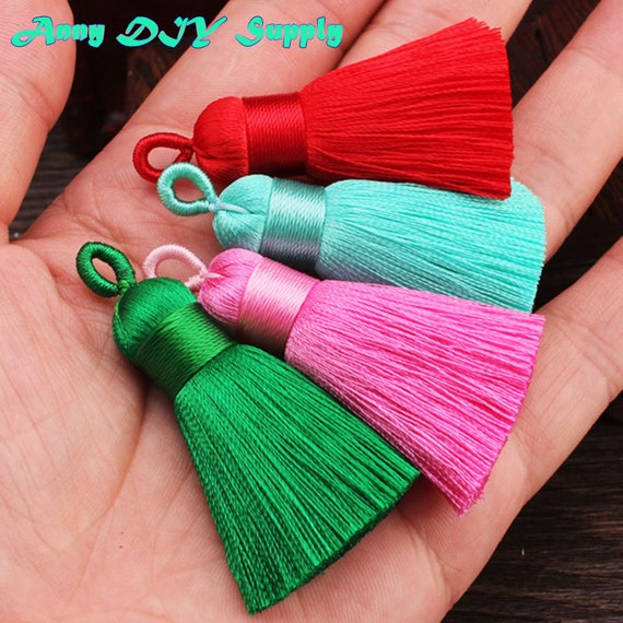 2pcs 8CM 60 Colors Metal Cap Thick Silk Tassel Thick Silk Rayon Tassel with rings,Jewellery Supply,Bag Tassel,Phone Case Tassel