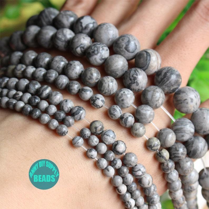 4mm-12mm Map Stone,Natural Stone Bead,40cm Full strand Stone beads,Gray Beads,Semi-Precious Stone Beads