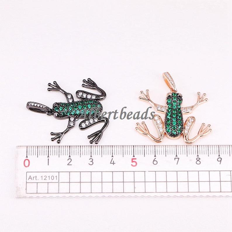AZYZ296-9663 Gold Silver Rose Gold Black Plated Micro Pave CZ Stone Animal Frog Pendant Fashion Jewelry 5PCS