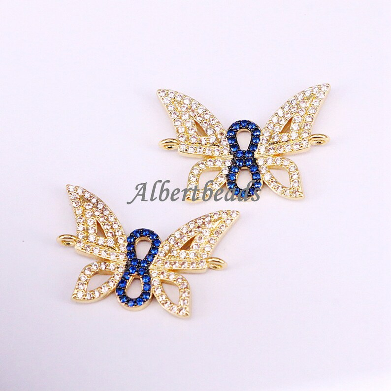 A334-6845 Gold Butterfly Connector CZ Micro Pave Butterfly Insect Jewelry Links Charm Jewelry 5PCS