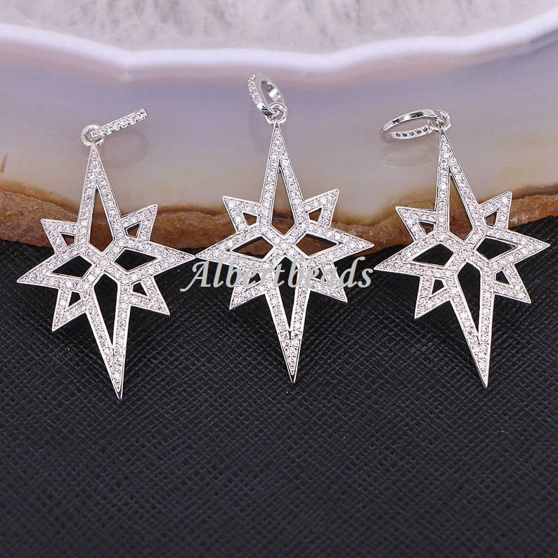 A175-9013 Micro Pave Zircon flower Star charm pendant in silver gold black rose gold color 10PCS