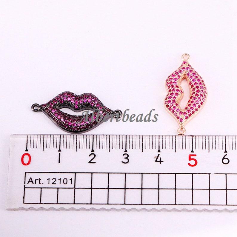 AZYZ333-5428 Unique Design CZ Micro Pave Lip Plated Brass Bead Bracelet Connector Charm Wom en Jewelry 10PCS