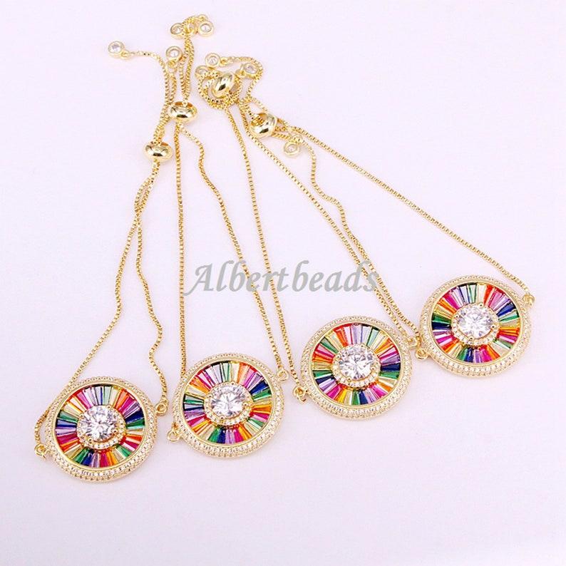 5PCS A344-1850 Beautiful Multi CZ Zircon Rainbow Charm Connector Beads Rainbow Crystal Women Jewelry Round Shape