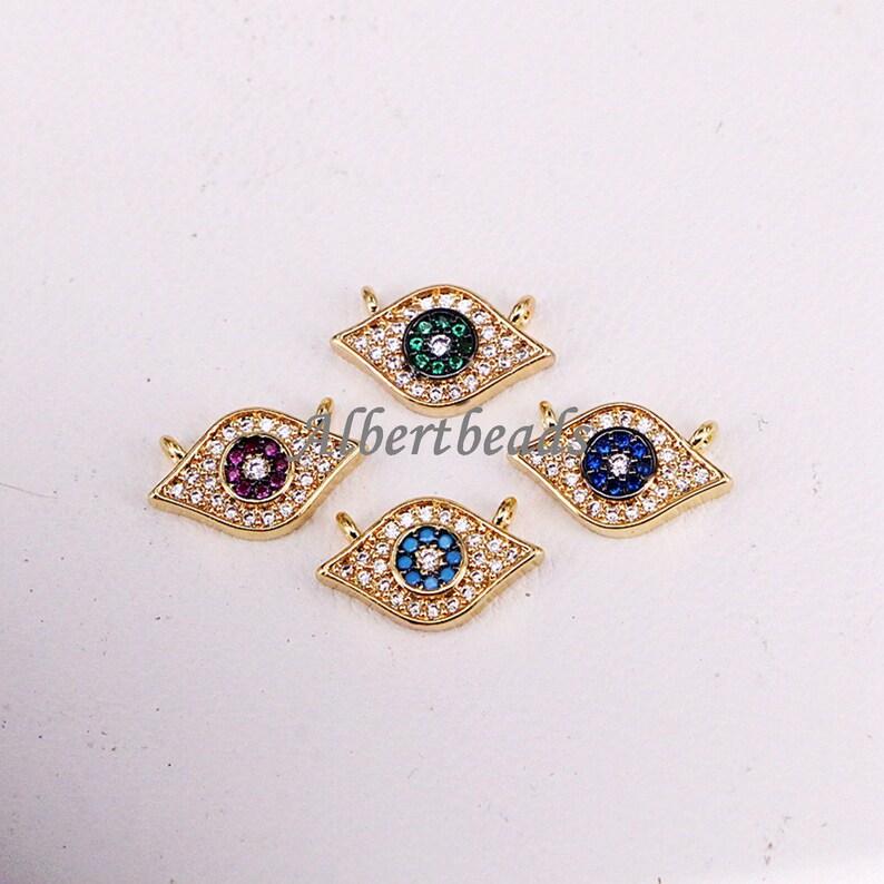 shiney Color Cubic Zirconia pendant  beads 10PCS AZYZ330-3349 New cz paved Eyes Charms Diy Women Jewelry