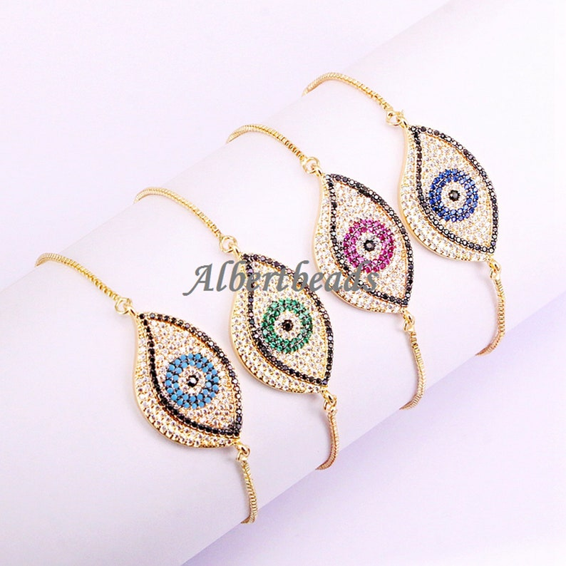 AZYZ325-0155 Evil Eye Connector Metal Pave CZ Bead for Jewelry Charms Spacer Beads 10PCS