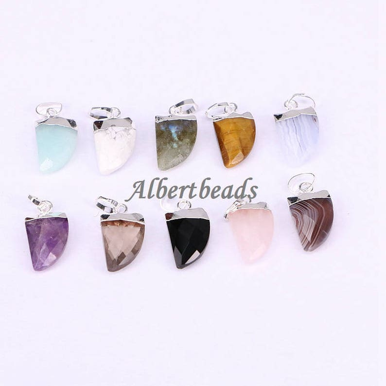 AZYZ180-9696 Natural Stone Pendant Horn Shape Charms Pendants For Jewelry Making Necklace Pendants  DIY Women Jewery Findings 510PCS
