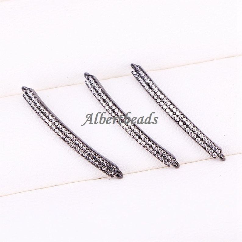 AZYZ298-2394 Tiny Cubic Zirconia Crystal Adjustable CZ Zircon Curved Bar Bracelet Beadss for Women or Girls Jewelry DIY Findings 10PCS