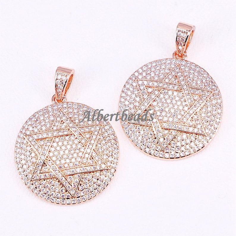 AZYZ300-4885 Fashion Jewelry CZ Micro Pave Cubic Zirconia Star of Round Women Pendant Top Quality 5PCS