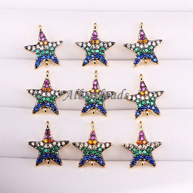 10PCS Micro Pave CZ Copper Connector Beads DIY Jewelry Findings A340-3499 Rainbow Crystal Zircon Star Beads Jewelry