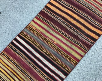 "Vintage Turkish Anatolian Runner Kilim Size : 2'6"" x 5'7"" -- 79 x 174 cm,Runner Kilim Rug,Nomadic Kilim Rug,Vintage Kilim Rug"