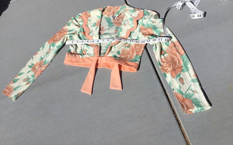 Vintage 70\u2019s prom formal wear halter dress set matching bolero rose print size xs